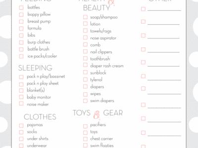 Baby Checklist: Travel Edition Free Printable Download