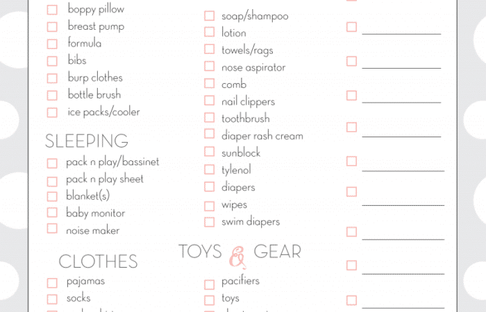 Baby Checklist: Travel Edition Free Printable Download