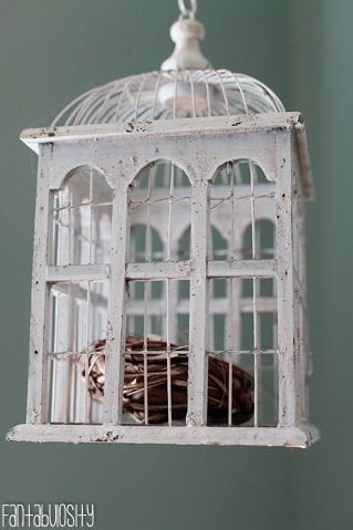 Baby Girl Nursery Gray and Coral Design, Bird Cage Decoration https://fantabulosity.com