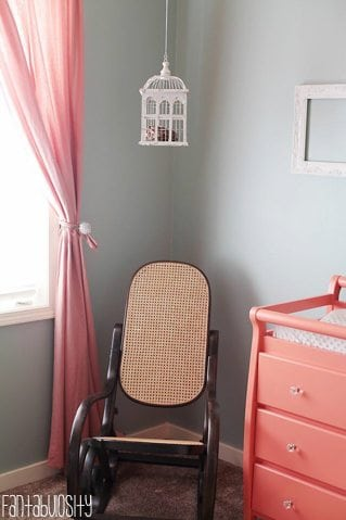 Baby Girl Nursery Gray and Coral Design Rocking Chair https://fantabulosity.com