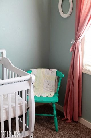 Baby Girl Nursery Gray and Coral Design Teal Chair https://fantabulosity.com