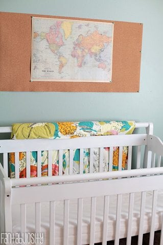 Baby Girl Nursery Gray and Coral Design World Map Wall Decor https://fantabulosity.com