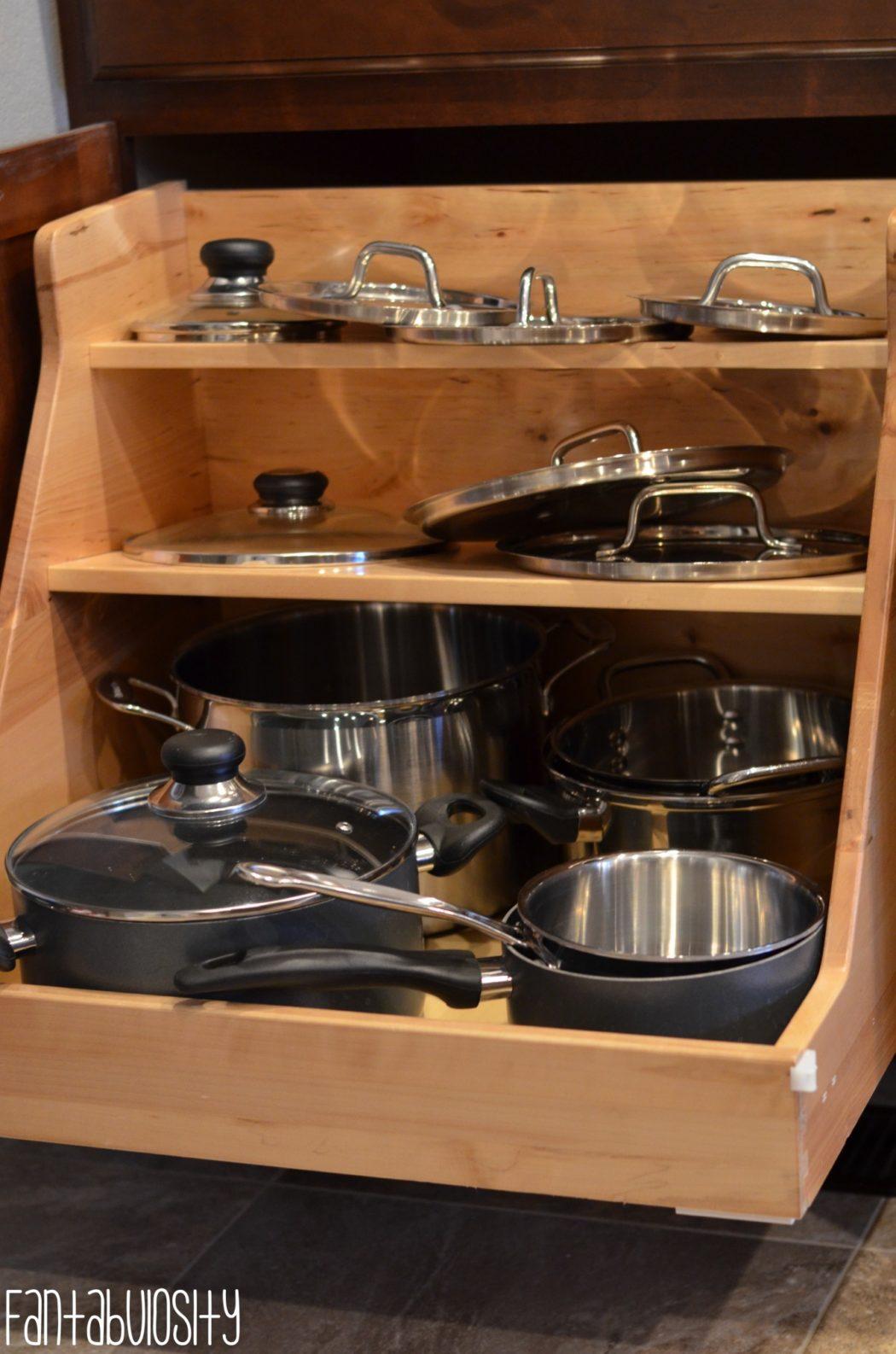 Pots & Pans Organizer, Kitchen Home Design Ideas Home Tour Part 4 fantabulosity.com