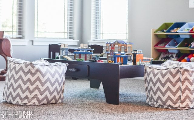Playroom design and decor ideas, Ottomons, Part 5 of Home Tour https://fantabulosity.com