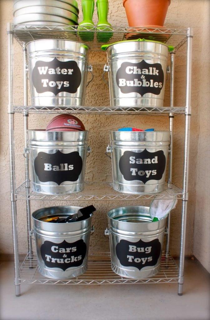 Buckets for toys - Garage Organization https://fantabulosity.com