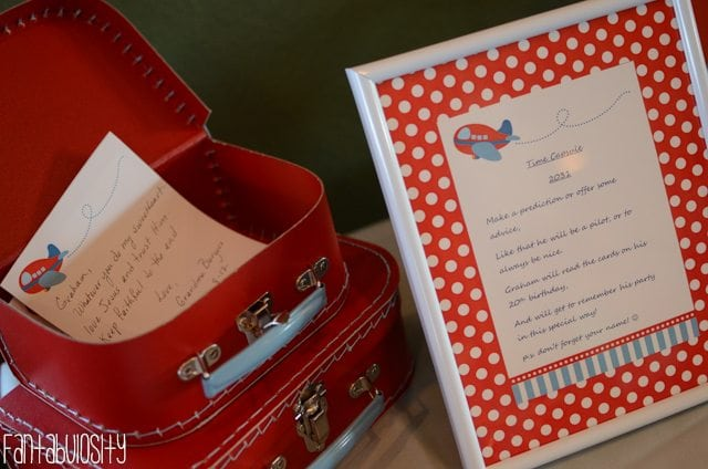 Airplane First Birthday Party Ideas Time Capsule
