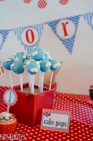 Airplane First Birthday Party Ideas Cake Pops