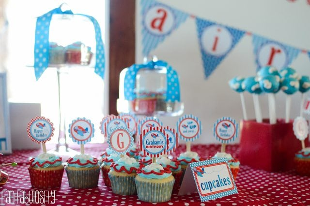 Airplane First Birthday Party Ideas Cupcake Toppers