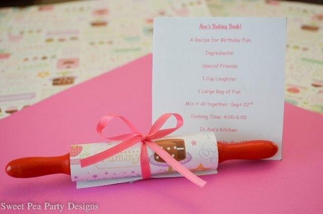 Baking Party Girl Birthday Invitations