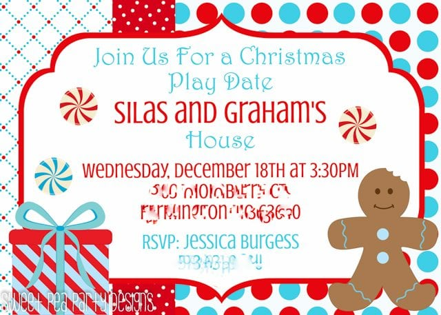 Christmas Play Date Snowmen Invitations for party