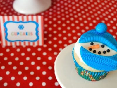Christmas Play Date Snowmen Theme cupcake toppers