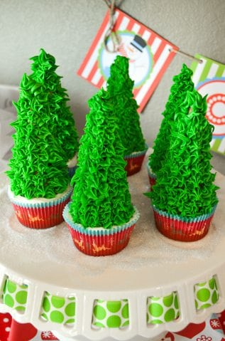 Christmas Tree Cone Cupcakes - ice cream cone and frosting