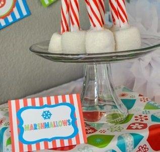 Christmas Play Date Snowmen Theme Marshamallow Peppermint Sticks