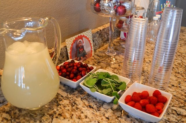 Christmas Play Date Snowmen Theme drink stations with lemonade and berries