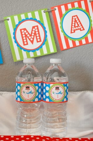 Christmas Play Date Snowmen Theme bottled water labels