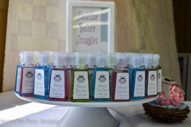 Owl-Baby-Shower-hand sanitizer favor with labels