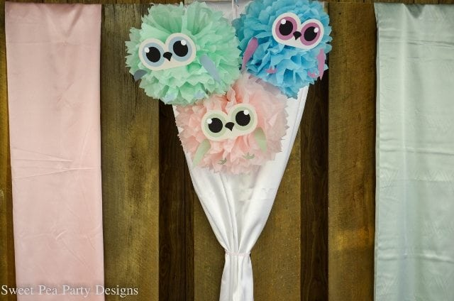 Owl-Baby-Shower-owl tissue pom poms