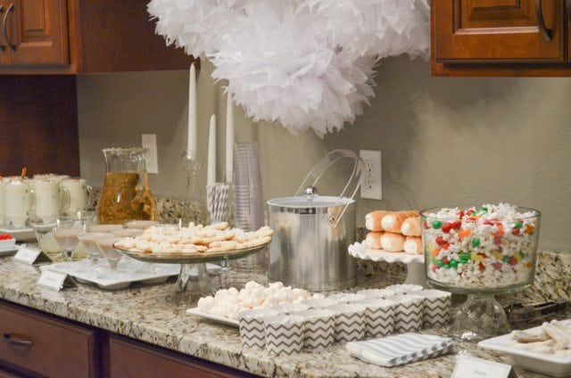 White Christmas Party Ideas Display Table Fantabulosity