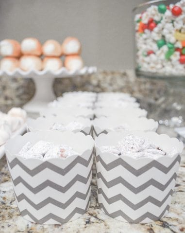 White Christmas Party Ideas Puppy Chow http://fantabulosity.com