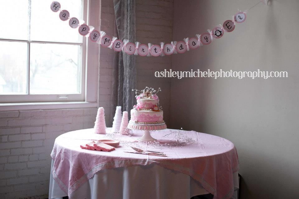 Winter Onederland Cake Table and banner