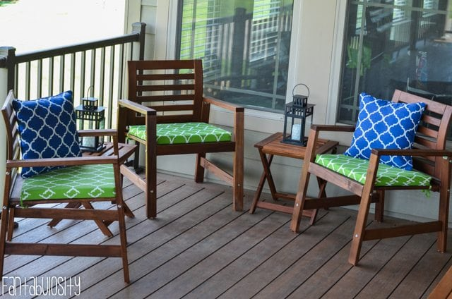 Patio deck decor home tour.Home Tour Part 8- The Patio-Deck Sitting area Blue and Green