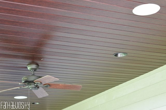 Patio deck decor home tour.Home Tour Part 8- The Patio-Deck tongue and groove soffit with speakers for outdoor music