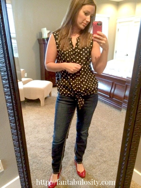Polka Dot Shirt. Adorable with jeans or shorts!