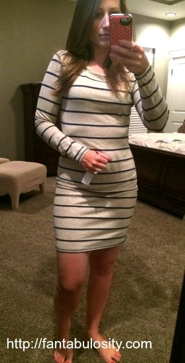Stitchfix Review-Cream and Navy Stripes, Dress https://fantabulosity.com