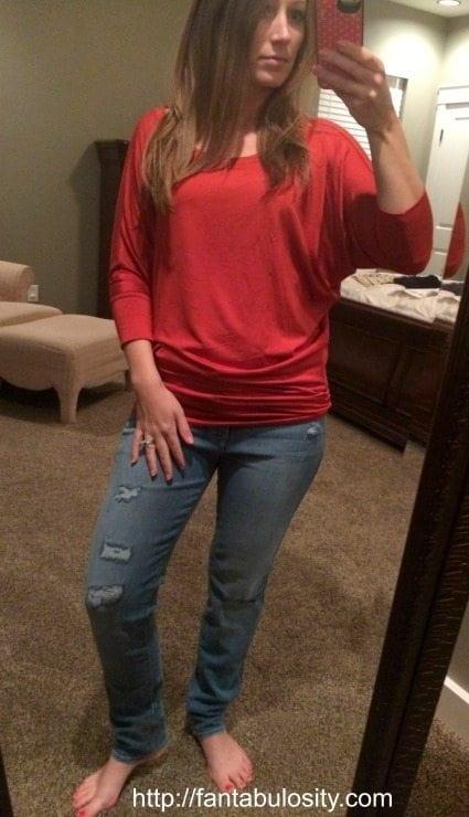 Stitchfix Review Love the orange top & COMFORTABLE jeans!