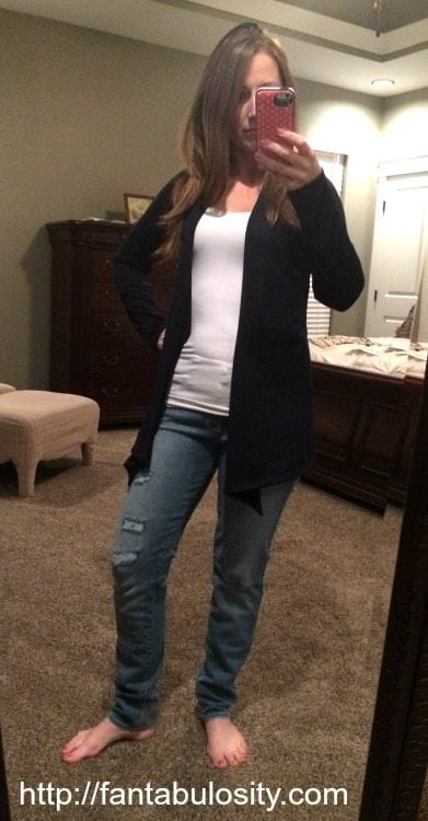 Stitchfix Review Navy Blue Cardigan and COMFORTABLE jeans https://fantabulosity.com