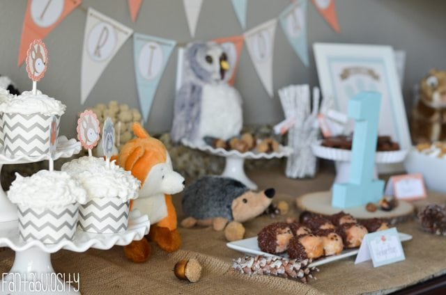 Woodland Friends First Birthday Party Dessert Table - https://fantabulosity.com