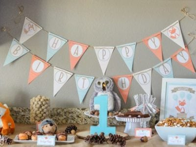 Woodland Friends First Birthday Party Ideas - Dessert Table https://fantabulosity.com