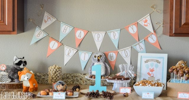 Woodland Friends First Birthday Party Ideas - Dessert Table https://fantabulosity.com