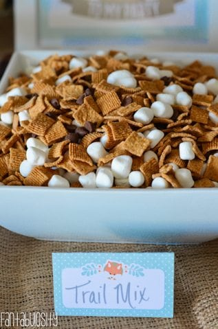 Woodland Friends First Birthday Party Smores Trail Mix https://fantabulosity.com