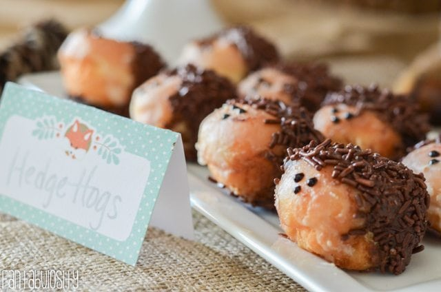 Woodland Friends First Birthday Party Donut Hole Hedge hogs https://fantabulosity.com