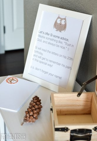 Woodland Friends First Birthday Party Ideas - Birthday Time Capsule. Have guests write letters for the birthday boy/girl to open on a future adult birthday! So fun! http://fantabulosity.com