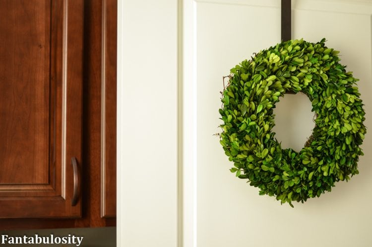 Boxwood Wreath for an interior door! Part of the 5 decorating ideas to make your home shine! https://fantabulosity.com