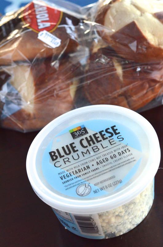 Blue Cheese Burgers on a pretzel bun. https://fantabulosity.com