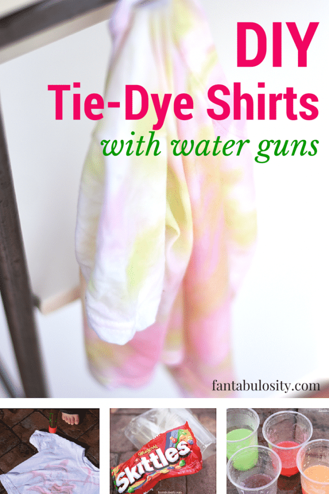 DIY Tie Dye Shirts with Skittles® and Water Guns! How cool is that!? My kids will love this! https://fantabulosity.com