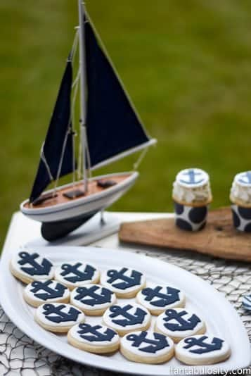 Nautical Birthday Party Ideas, for a Boy or Girl! Navy and White dessert table! https://fantabulosity.com