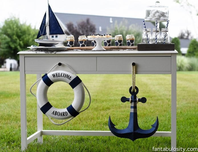 Nautical Birthday Party Ideas, Boy or Girl! Navy Blue and White Dessert table! https://fantabulosity.com