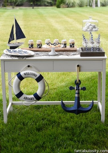 Nautical Birthday Party Ideas, Boy or Girl! Navy Blue and White Dessert table! https://fantabulosity.com-35