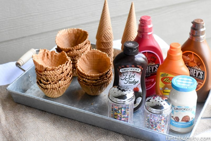 Ice Cream Bar for an outdoor summer birthday party https://fantabulosity.com