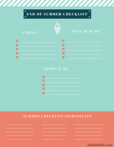 End of Summer checklist, FREE Printable! https://fantabulosity.com