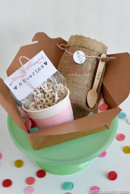 Breakfast Gift Box Idea! So cute to give someone at the office for a secret pal gift. https://fantabulosity.com