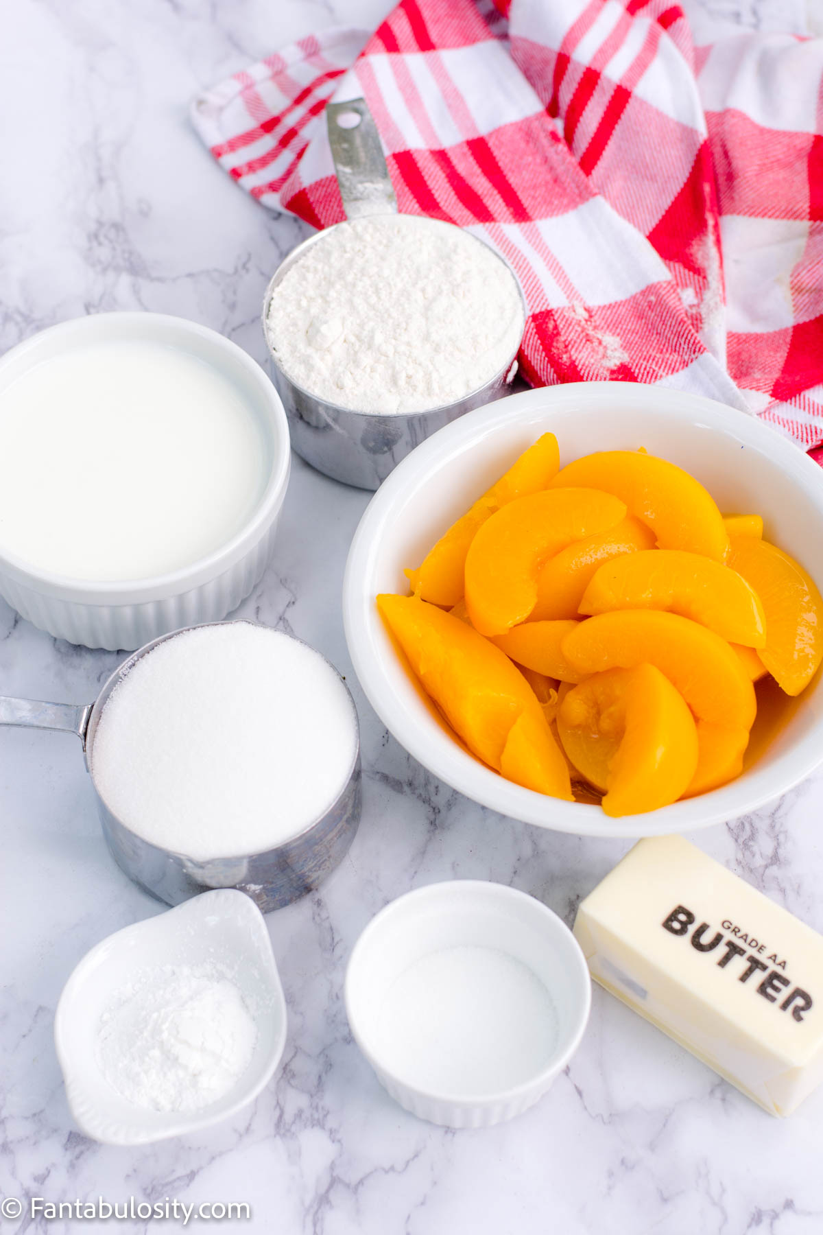 Peach Cobbler Ingredients on Counter