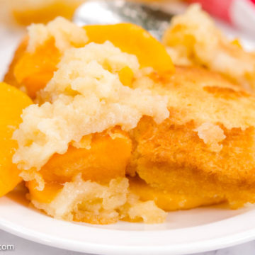 Peach Cobbler Recipe with Canned Peaches on White Plate