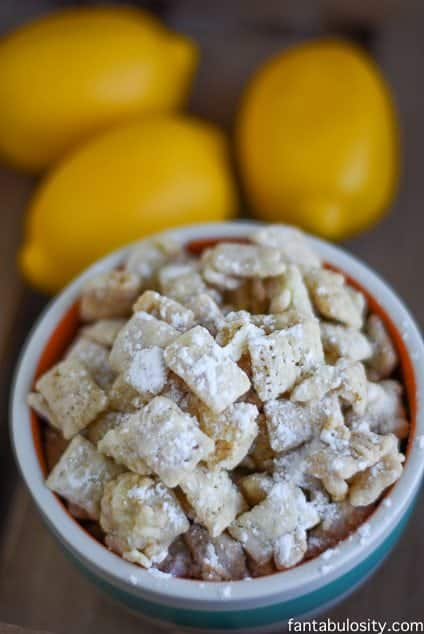 White Chocolate Lemon Puppy Chow Recipe! My mouth is WATERING! https://fantabulosity.com