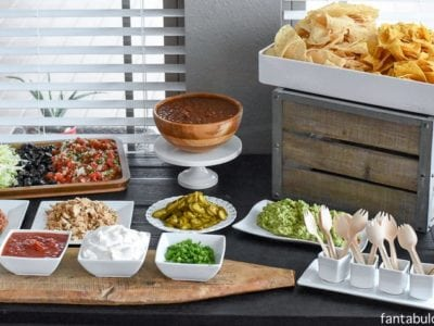 Nacho Bar Party Ideas! She said this was so easy, because she bought everything pre-made & pre-chopped!