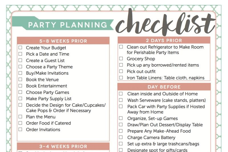 Free Party Planning Checklist Download